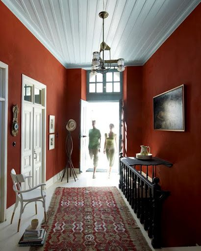 Nice Ochre Red Hallway I So Want This Color In My Family Room