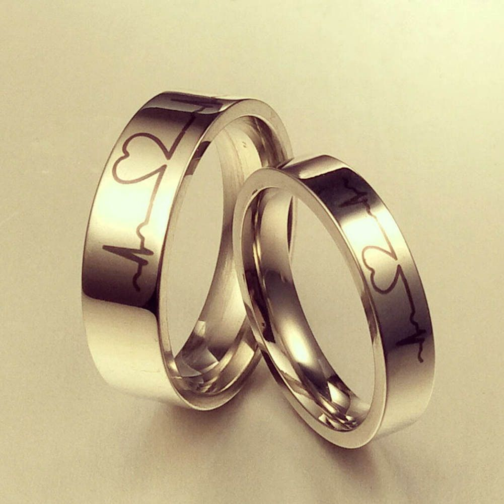 Titanium Steel Heart Beat Simple Ecg Heart Couples Promise Engagement Ring W Bands Without S Couple Wedding Rings Titanium Steel Rings Mens Rings Fashion