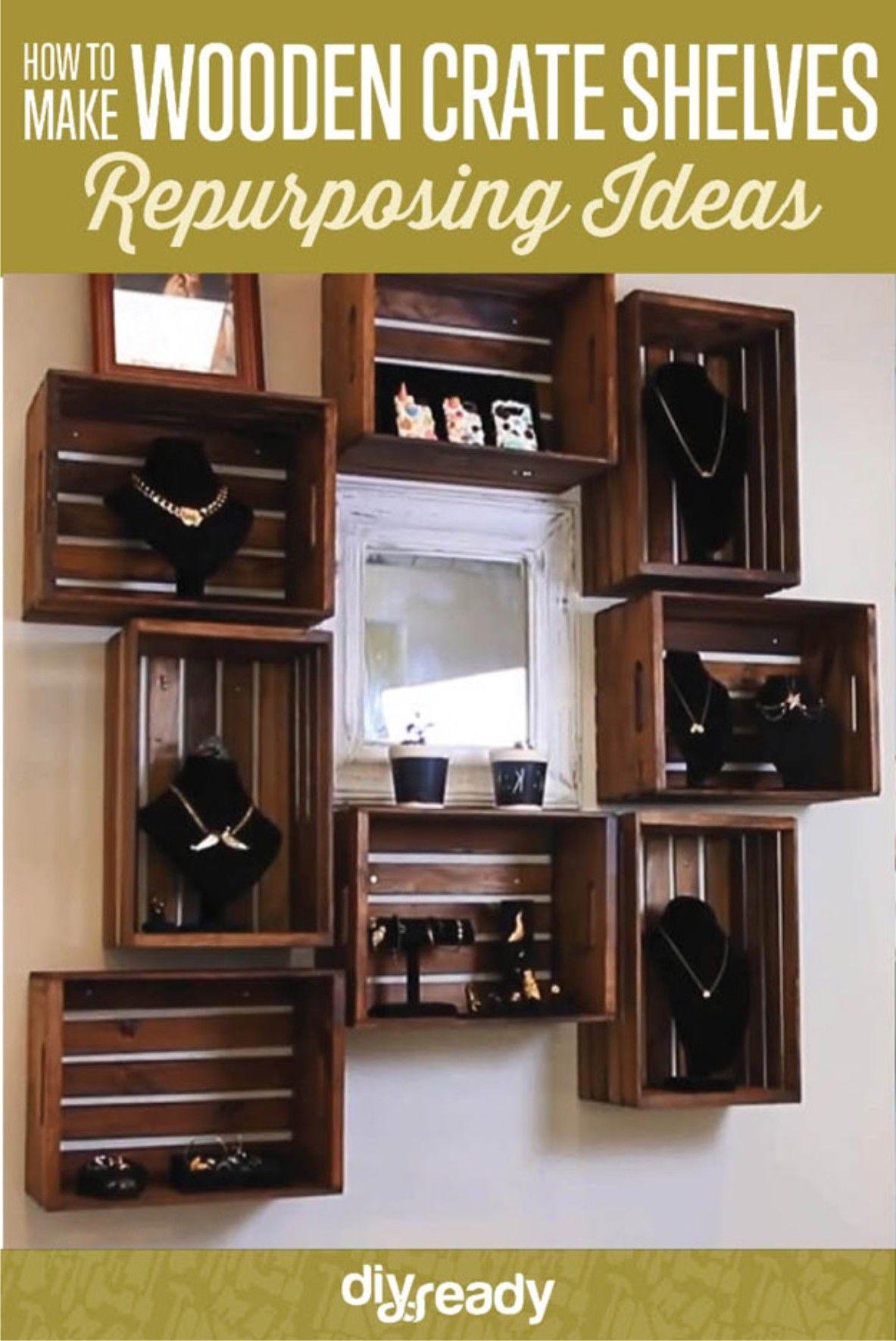 Estantería con cajas de madera | Caja de madera, Estanterías y Cajas