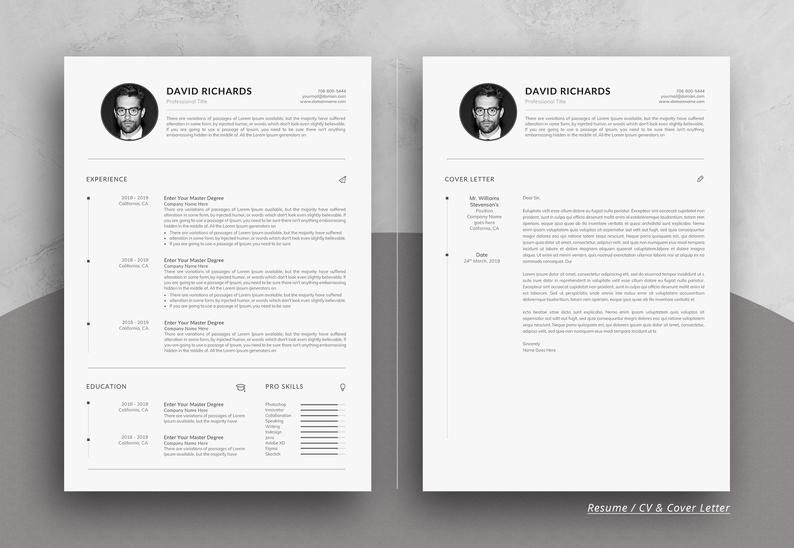 Minimale Eine Seite Lebenslauf Vorlage In Word Etsy Resume Cover Letter For Resume Unique Resume Template