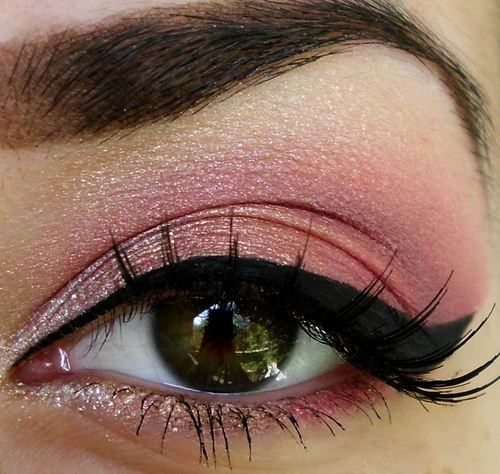pink and liquid eyeliner