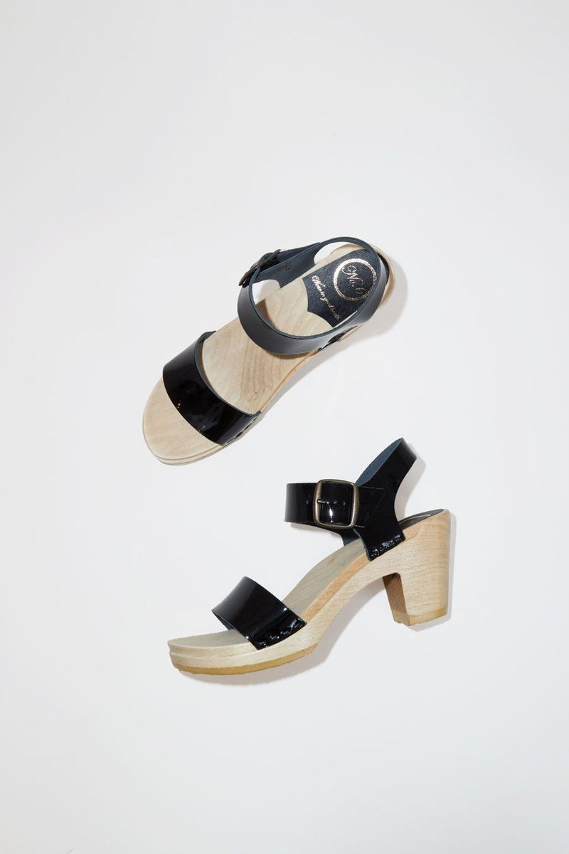 7731124d8f1d No.6 Two Strap Clog on High Heel in Black Patent