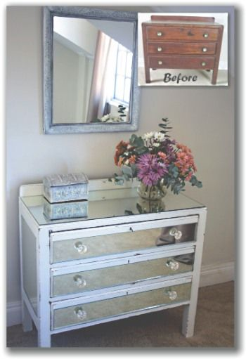 Mirrored Chest Of Drawers Furniture Makeover Diy Mirrored