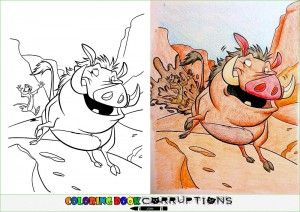 Example Of Coloring Book Corruption With Pumbaa And Timon