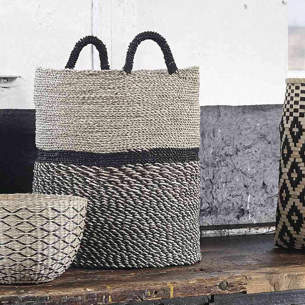 Design Vintage | Tall Seagrass Baskets | Natural Black | Hubsch ...