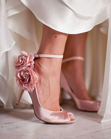 These Pink Rose Satin Shoes And The Wedding Dress Are A Match Made In Heaven