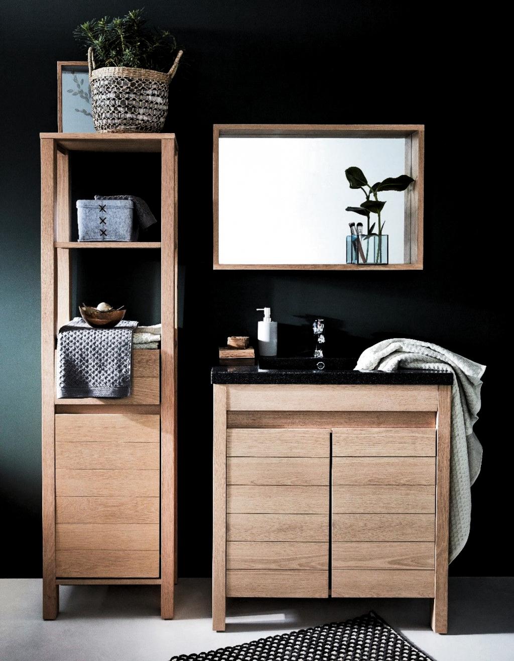 Meuble Salle Bain Bois Design Ikea Lapeyre Cote Maison In 2020 Bathroom Furniture Design Wooden Bathroom Cabinets Minimalist Bathroom Furniture