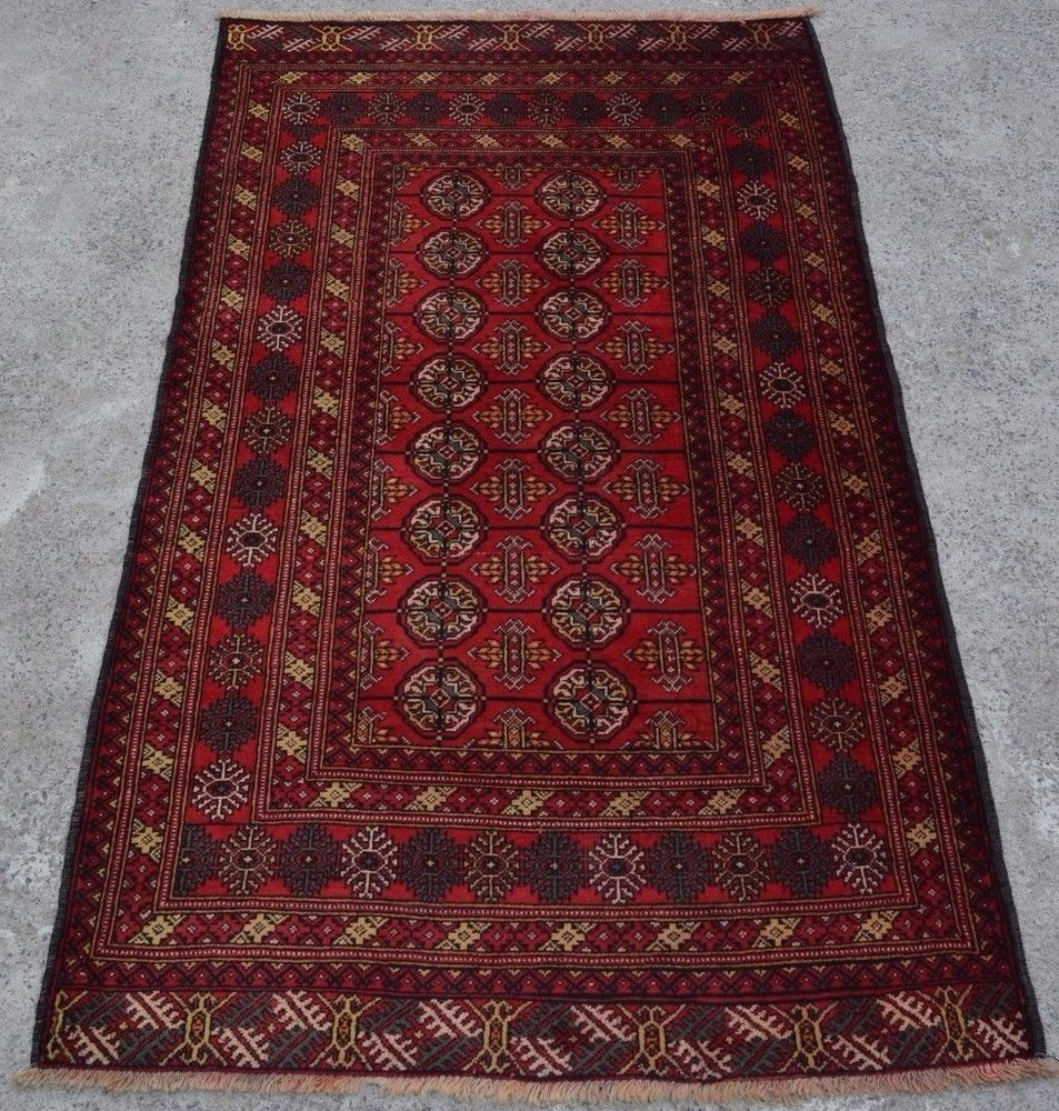 L130, Handmade Afghan Tribal Nice Baluch Vintage Carpet Tekke Turk Rug 3'9 x 6'4 #Handmade #Tribal