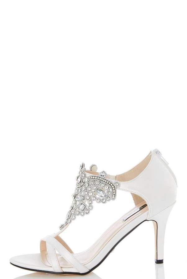 clearance explore visit new for sale White satin jewel front bridal sandals best wholesale 3jRss