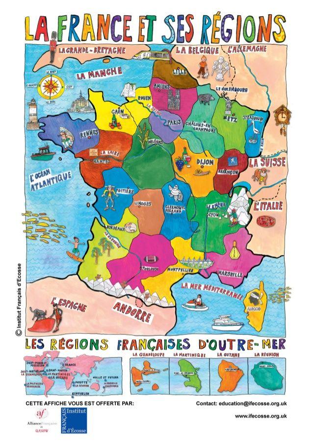 Poster La France Et Ses Regions Francja Jezyk Francuski Francuski