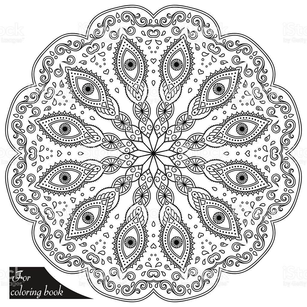Henna Tattoo Mandala In Mehndi Style Pattern For Coloring Book Vector Id586369316 1024 1024 Mandala Coloring Pages Coloring Books Henna Tattoo