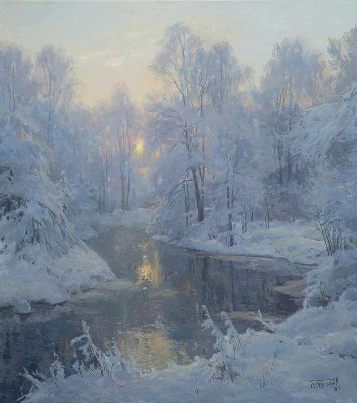 Stanislov Brusilov Russian Painter Winter Landscape Painting Oil Painting Landscape Winter Landscape
