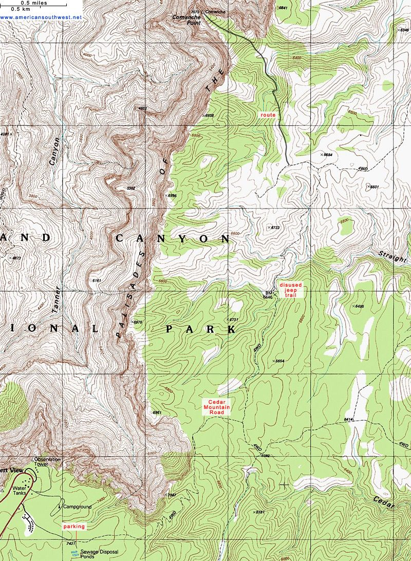 Topographic Map Grand Canyon.Topo Map Of The Comanche Point Trail Grand Canyon Az Hiking Ideas