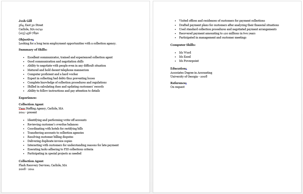 Collection Agent Resume Collection Agent Resume How To Plan
