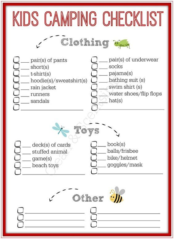 Kids Camping Checklist Camping checklist, Camping and Camping list