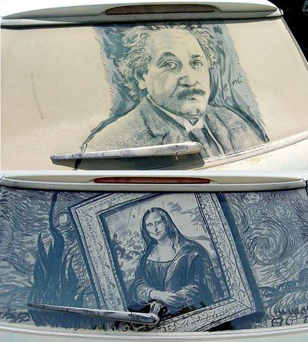 Artist Scott Wade uses the dust gathering on dirty cars to create amazing art.