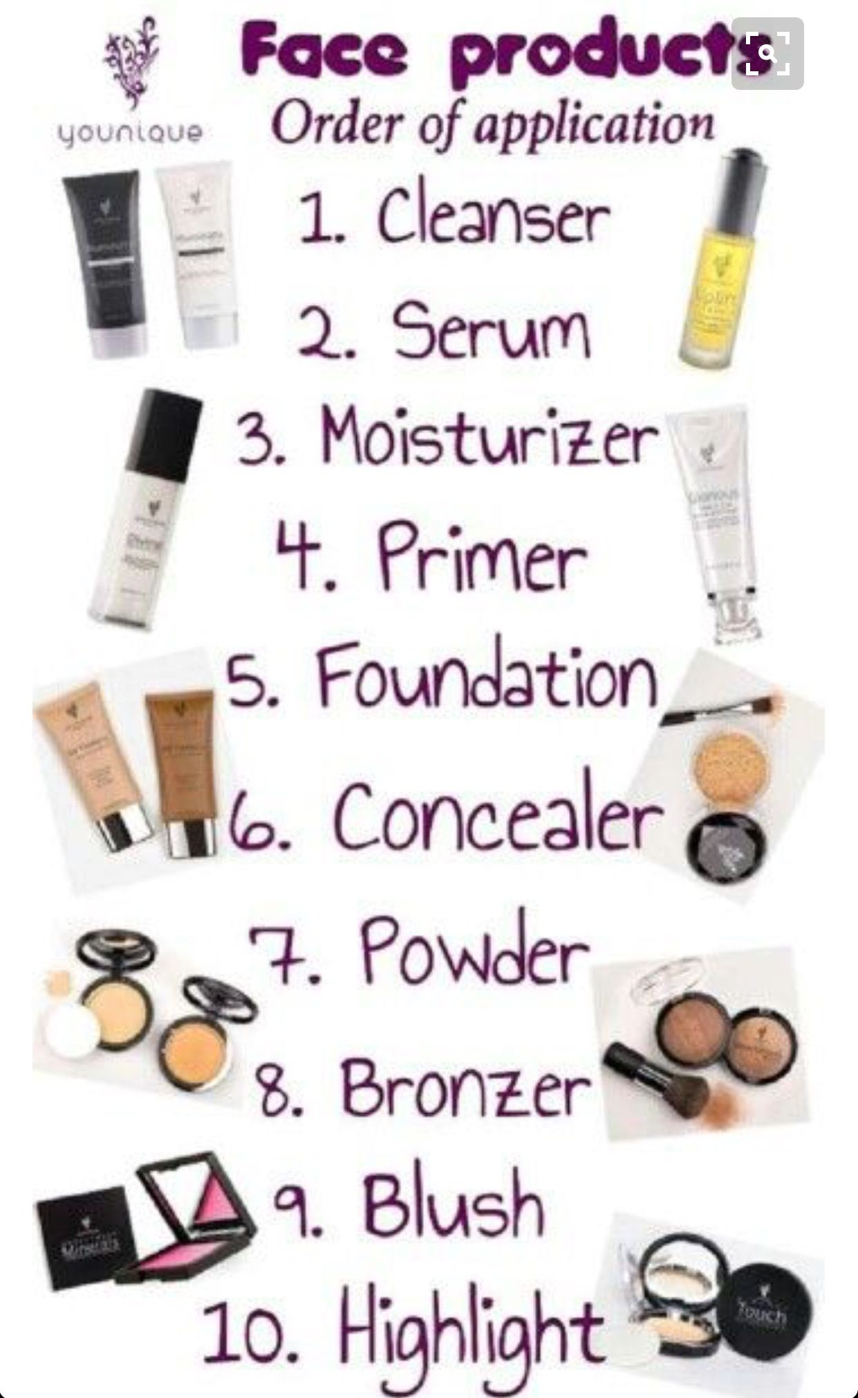 Makeup Order Order Of Makeup Application: Younique Makeup. This Chart Will Help You Apply Each Item