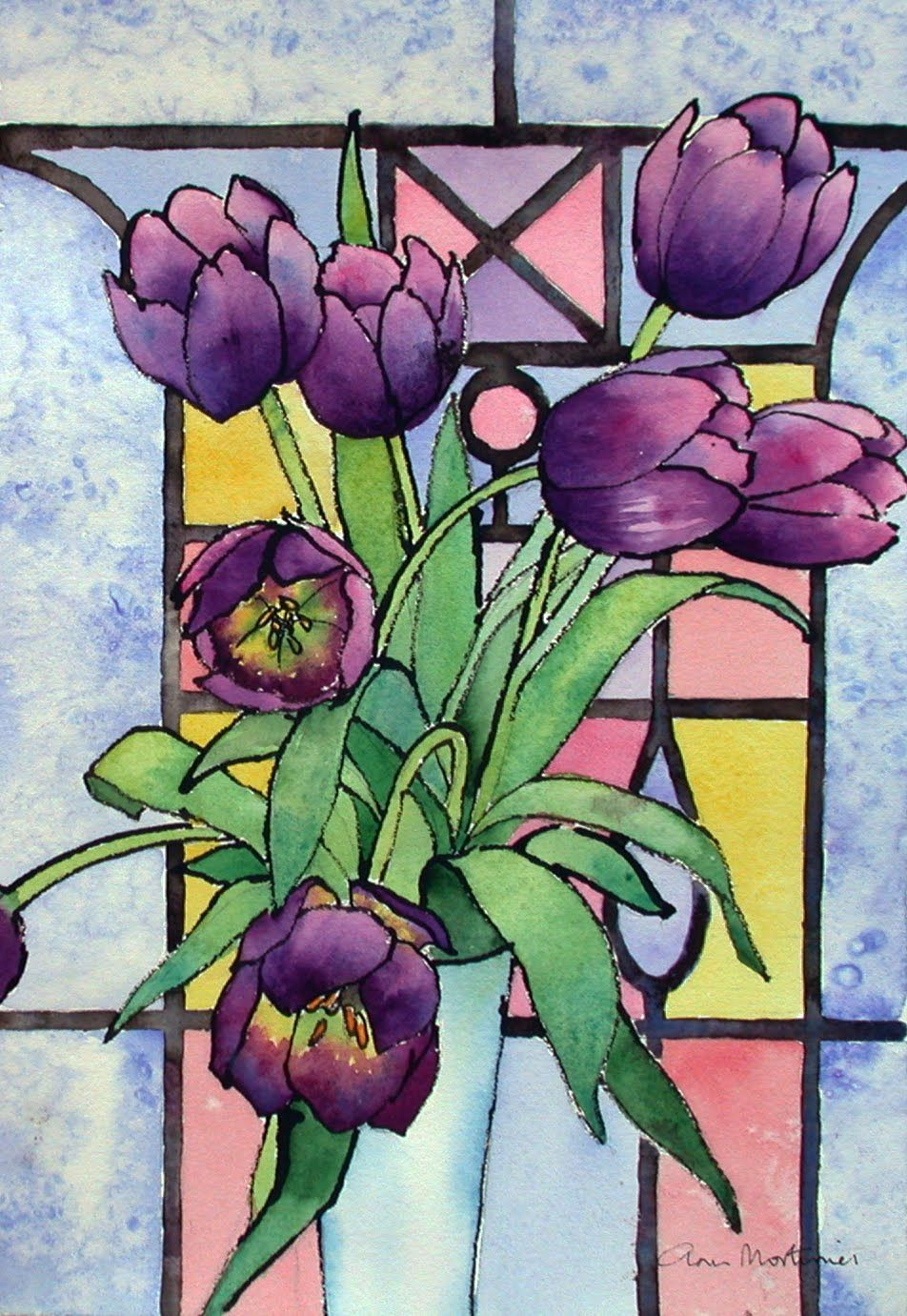 Glass window design - Painting Blog Tulips And A Stained Glass Window With Paint Daubs Glass Painting Ideas Pinterest Watercolors Stains And Home
