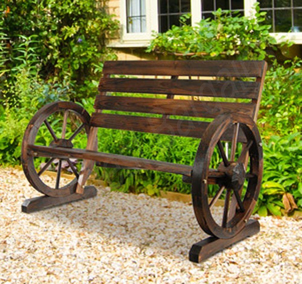 Wooden Garden Bench Timber Outdoor Patio Park Wagon Wheel Chair