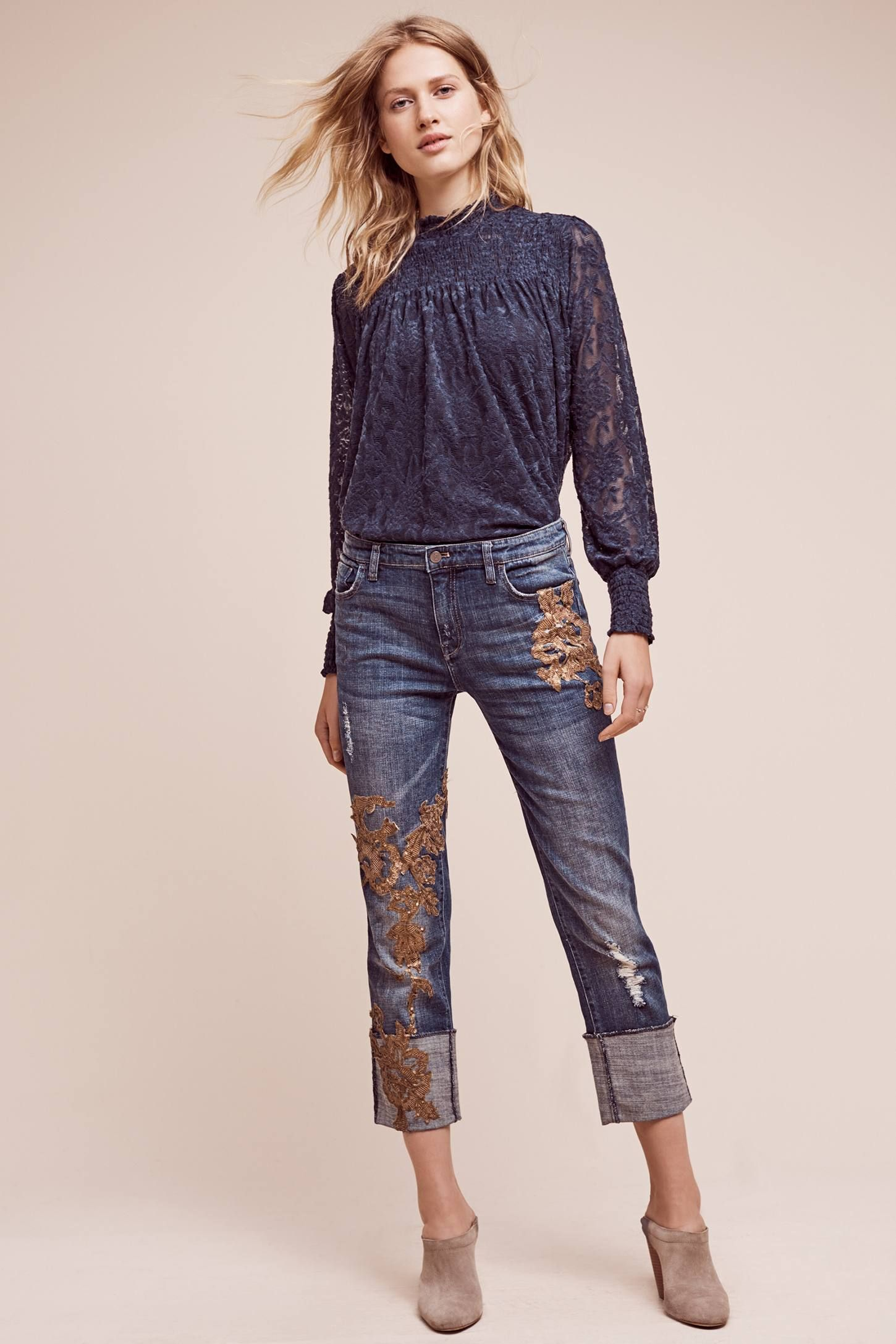 08bc50479771 Shop the Pilcro Hyphen Applique Mid-Rise Jeans and more Anthropologie at  Anthropologie today. Read customer reviews