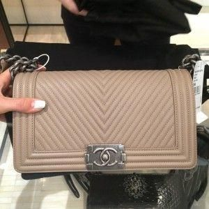 1798181e9105 Chanel Beige Micro Chevron Boy Bag - Pre Fall 2014 #Chanelhandbags  #chanelbeigebag