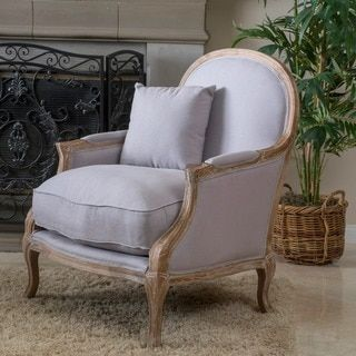 MacArthur Weathered Oak Natural Fabric Arm Chair by Christopher Knight Home - 15939032 - Overstock - Great Deals on Christopher Knight Home Living Room Chairs - Mobile