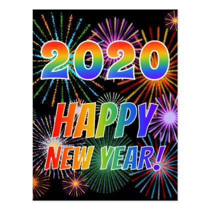 Rainbow Letters 2020 Happy New Year Postcard Zazzle Com New Year Postcard Happy New Year Fireworks Happy New Year Images
