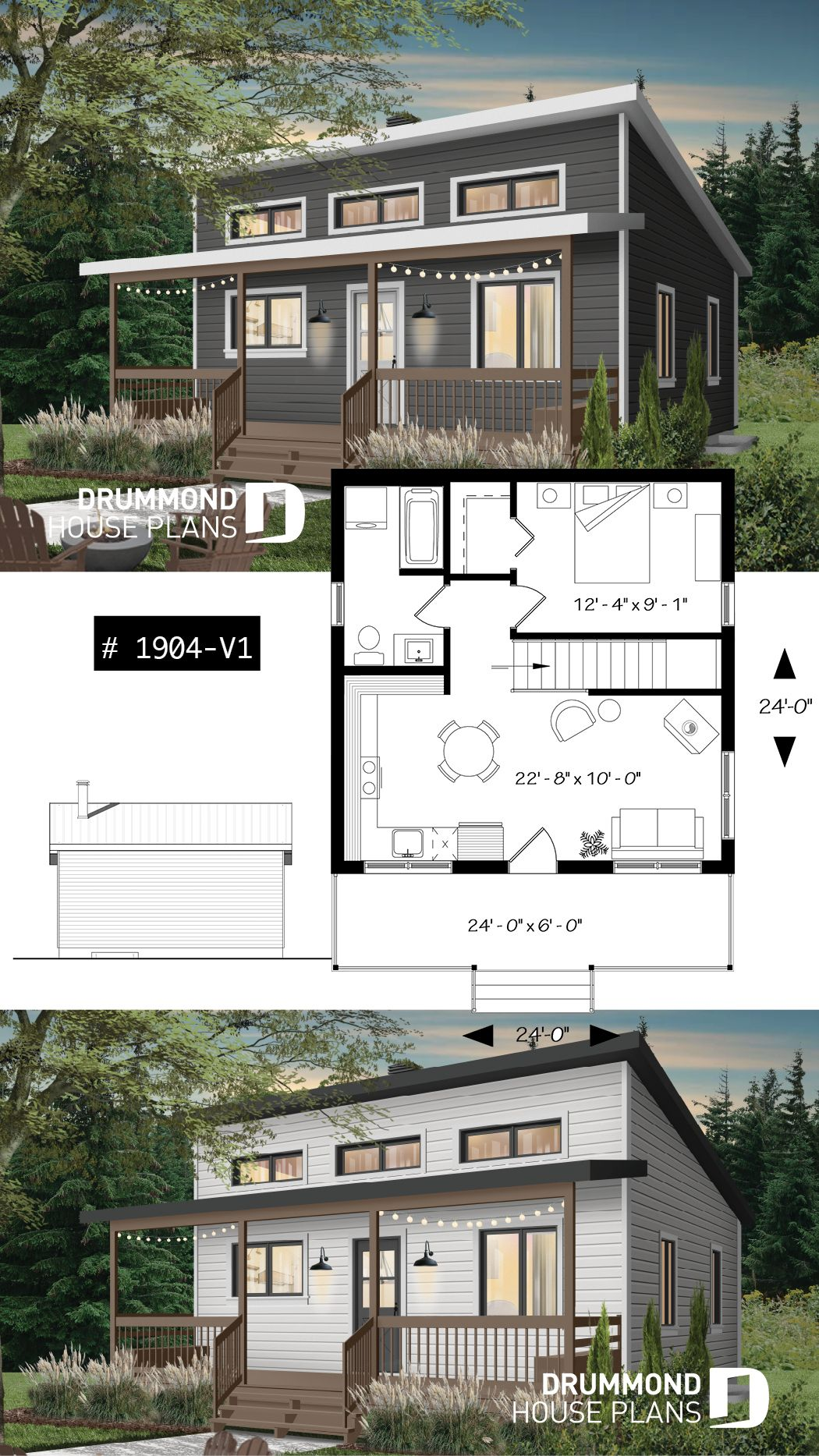 Discover the plan 1904 V1 Great Escape 2 which will please you for its 1 bedrooms and for its Cottage chalet cabin styles