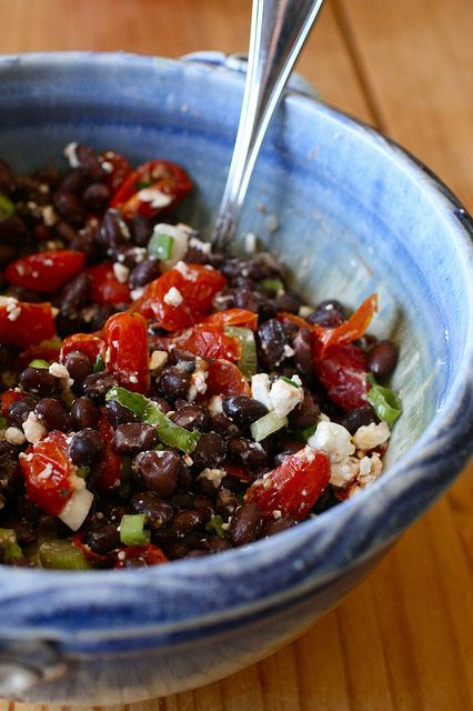 Black Beans with Roasted Tomatoes         and Feta.   Protein-rich.  So easy!