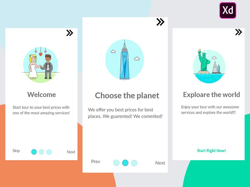 Onboarding option screens. App design, Onboarding, Dribbble