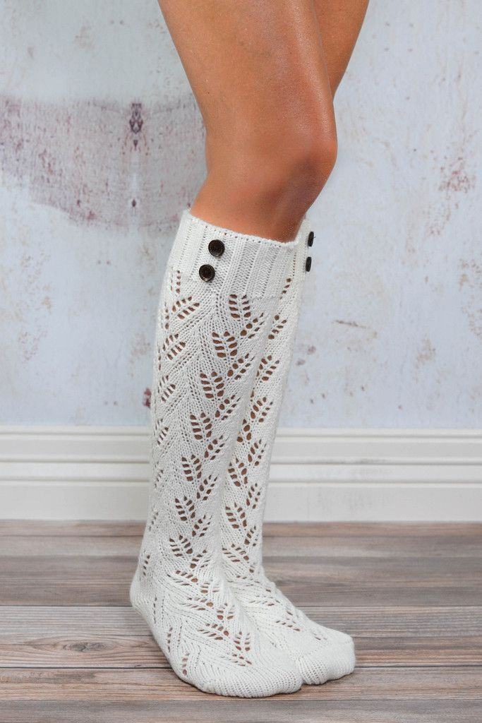 Chestnut Cream Knit Boot Sock with Buttons | Mochilas | Pinterest ...