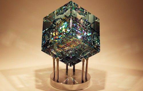 Blue Spectrum Cube Crystal Cube Glass Sculpture By Fine Art Glass