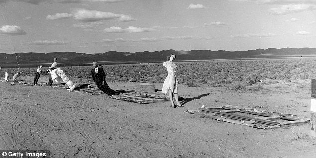 Still life: A row of mannequins are situated about 7000 feet from a blast site during one of the nuclear bomb test detonations held as part of Operation Teapot