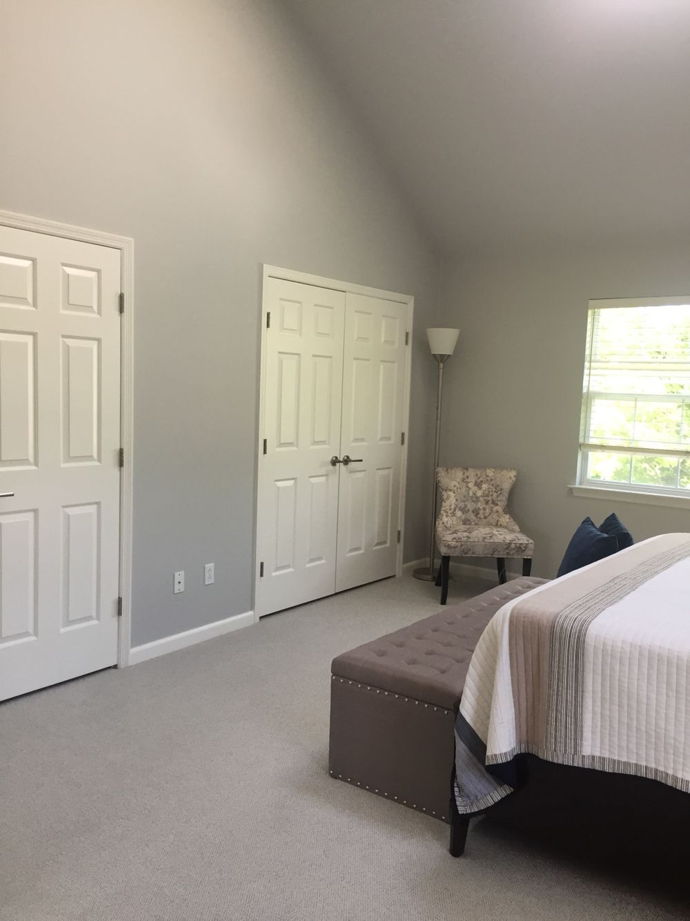 The Master Benjamin Moore Stonington Gray White Dove Trim Ceiling 50 Lighter Stonington Bedroom Makeover