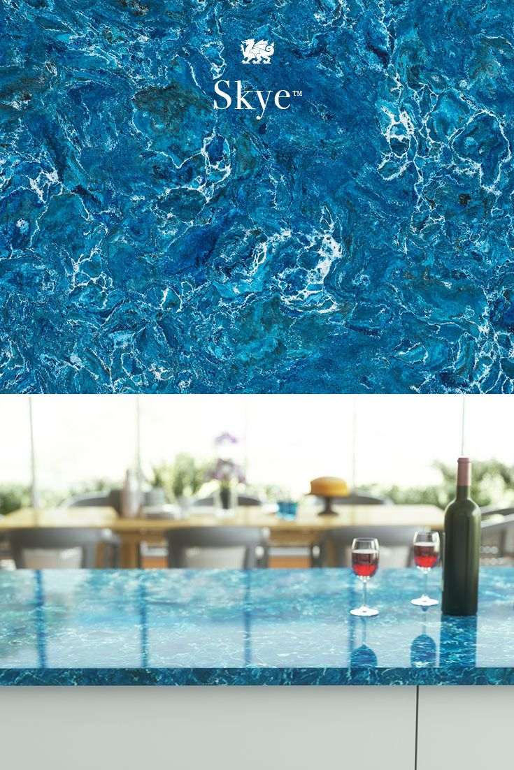 For vibrant blue countertops, our dynamic Skye design presents blues ...