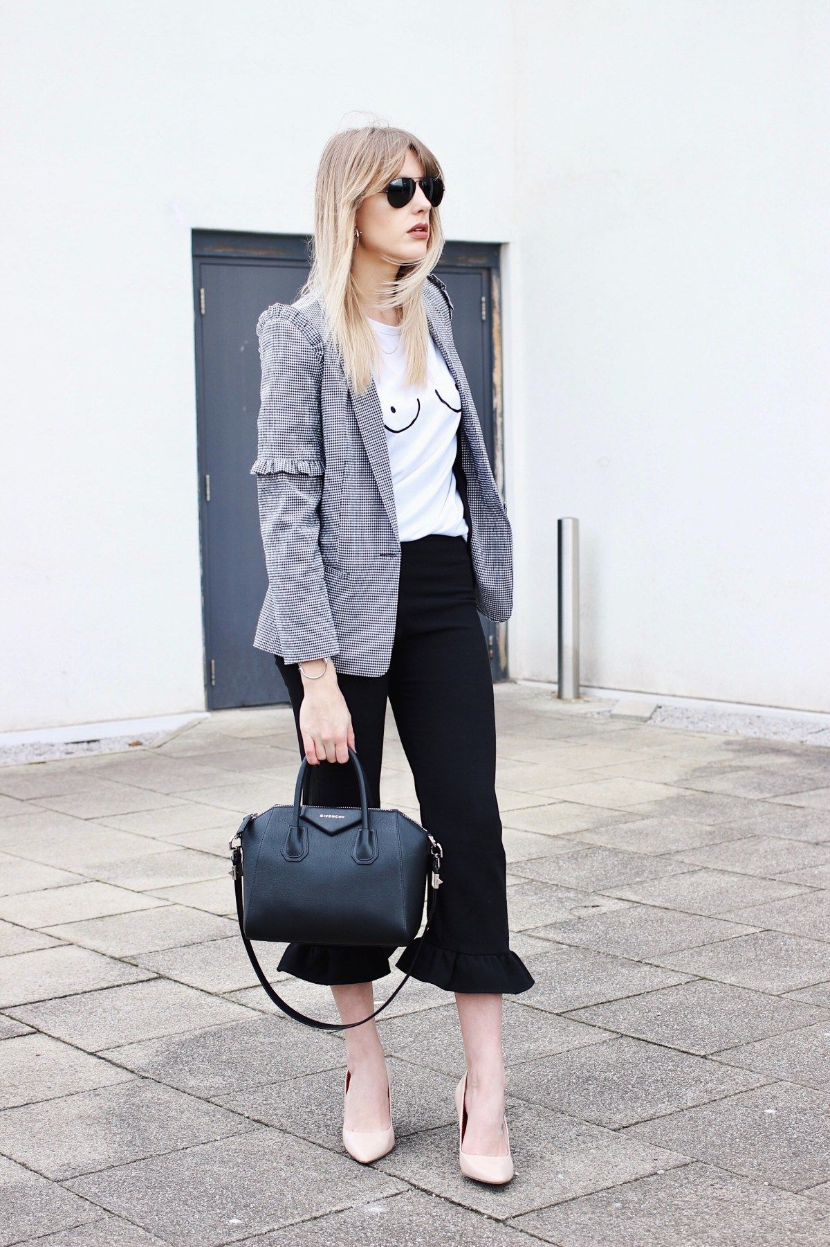 817b5460c84 High Street Fashion Blogger in their 30s - Charlotte Buttrick - Frill  trousers - boob t-shirt - gingham check blazer and nude court shoes street  style