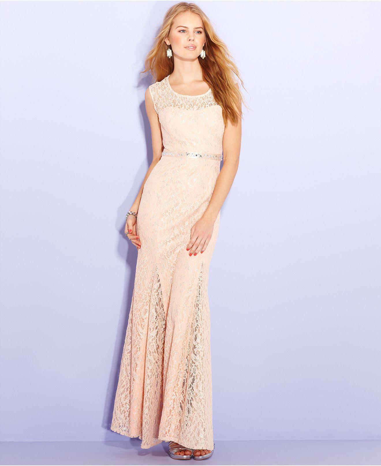 Sequin hearts juniors dress sleeveless lace rhinestone gown