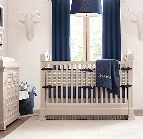 Navy And Cream Grey Nursery With