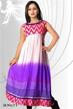 Elegant personality with new SIXMETER White Purple #Casual Wear #Anarkali Style #Kurti for lovely lady.