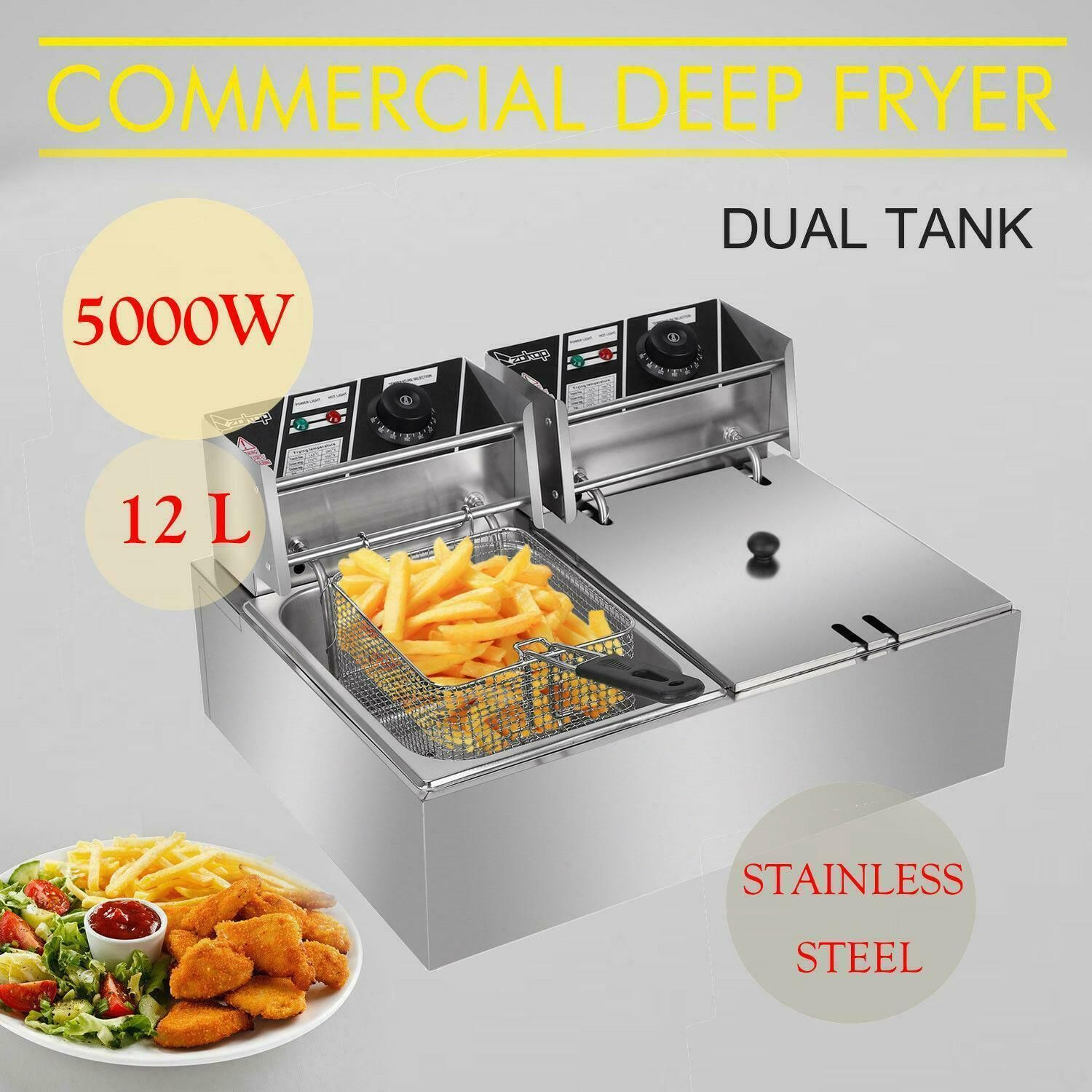 12.7QT Commercial Electric Deep Fryer 2 Tank Stainless