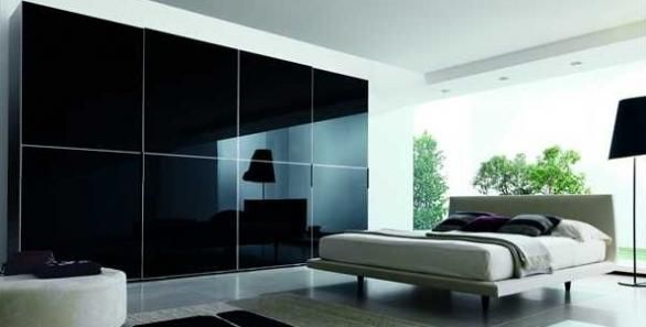 luxury bedroom black mirror sliding wardrobe