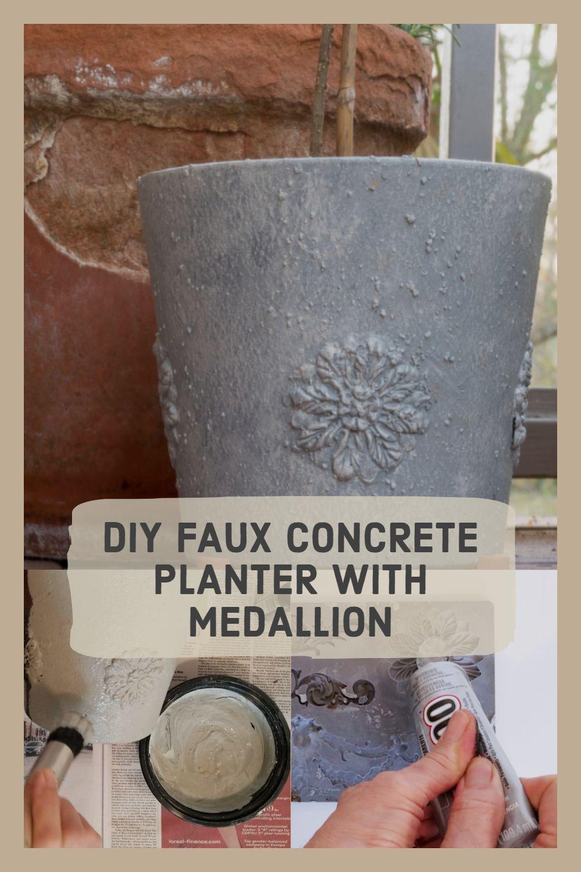 Diy Faux Concrete Planter Diy Flexible Medallions Concrete Planters Diy Concrete Planters Diy Planters