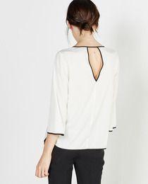 Blusa de mujer Sfera con cuello caja y manga francesa