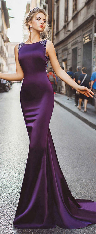 Winsome Tulle & Acetate Jewel Neckline Satin Mermaid Evening Dresses ...