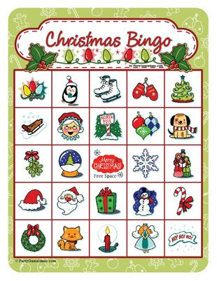 photo relating to Holiday Bingo Printable known as Printable Xmas Bingo - Festive Holiday vacation Bingo Recreation