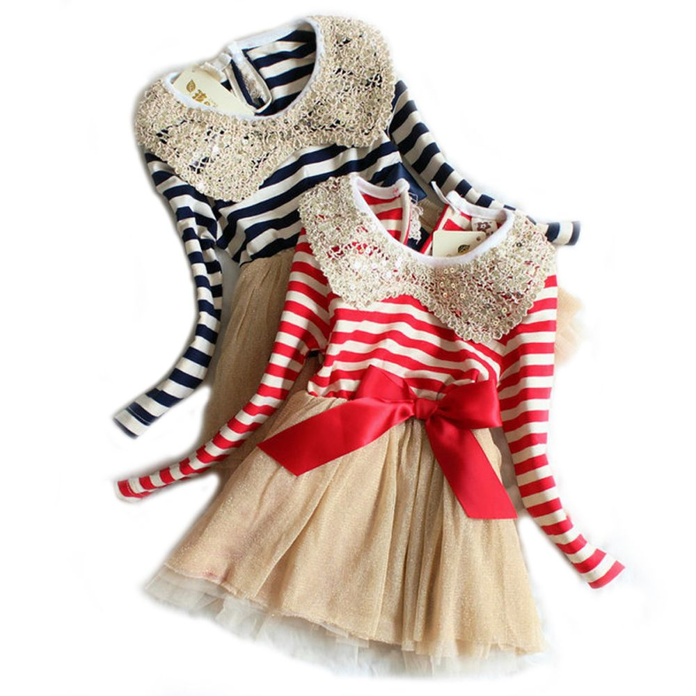 spring baby Girls dress Childrenus Stripe Clothes Infant Kids