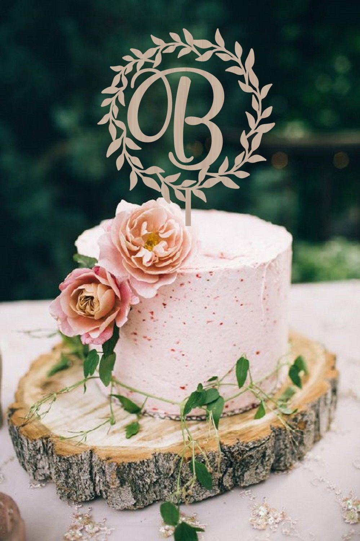 Wedding Cake Topper Wreath Initial Wedding Cake Topper Etsy Wood Cake Topper Rustic Wedding Cake Toppers Wood Cake Topper Wedding