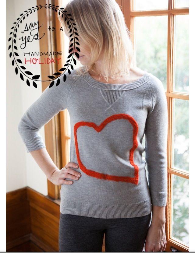 Felt heart sweater