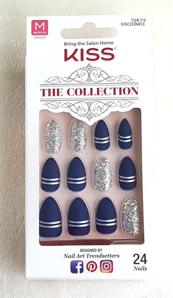 KISS The Collection 24 Glue-On Nails MEDIUM #72573 | Pinterest ...
