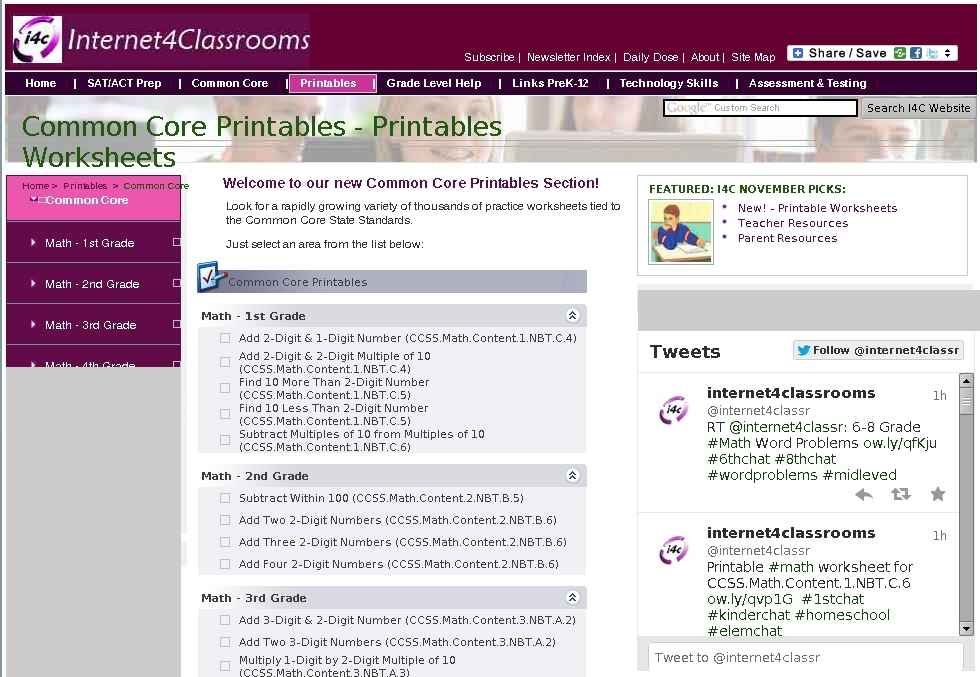Common Core Printables Printable Worksheets at